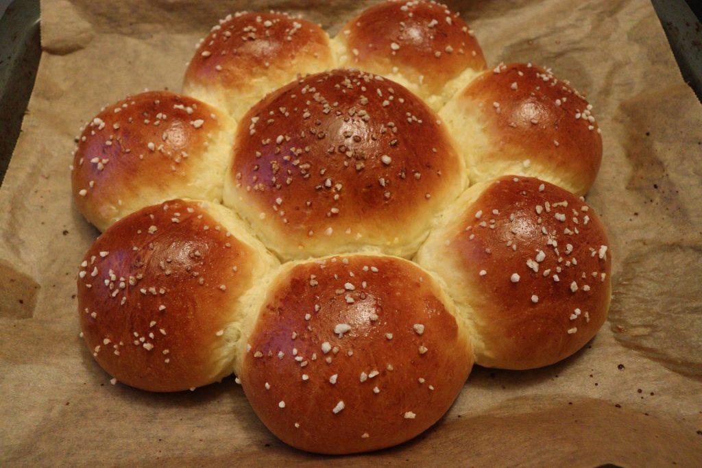 Dreikönigskuchen - Three Kings' Cake right of the oven (freshly baked)
