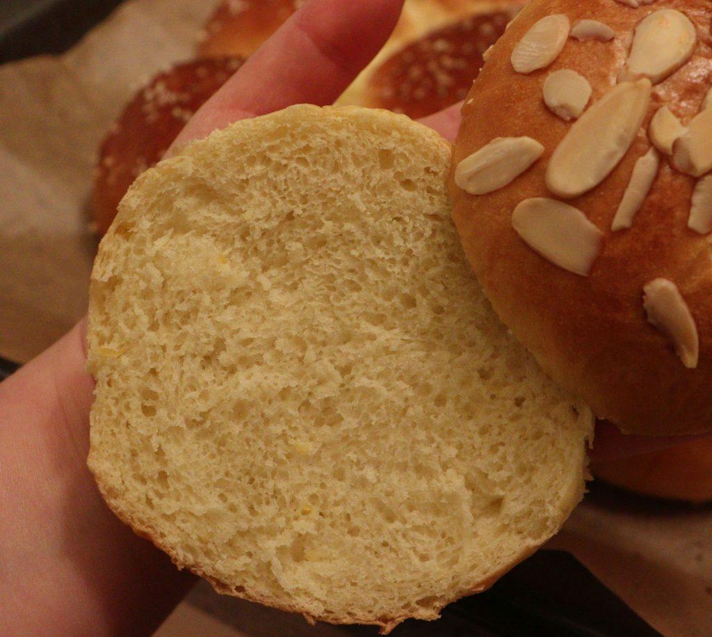 Dreikönigskuchen - Three Kings' Cake freshly baked: a section of the extra piece