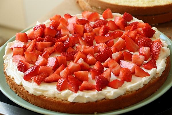 Sponge cake layer covered with mascarpone cream and strawberries